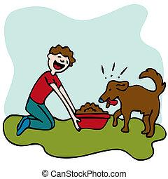 strava, krmení, pes, voják