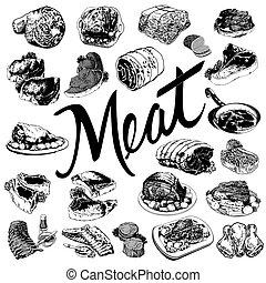 strava, set., maso, rukopis, nahý, ilustrace