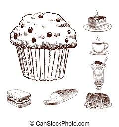 strava, skica, vektor, blbeček, menu, restaurace, čerstvý, rukopis, nahý, produkt, a, kuchyně, klikyháky, jídlo, vaření, kuchyň, sketchy, organický, illustration.