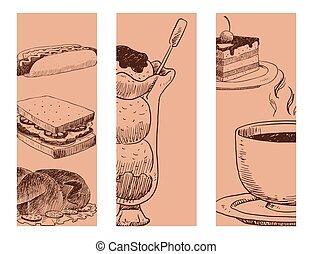 strava, skica, vektor, prapor, blbeček, menu, restaurace, čerstvý, rukopis, nahý, produkt, a, kuchyně, klikyháky, jídlo, vaření, kuchyň, sketchy, organický, illustration.