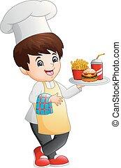 strava, vaření, pevně, vrchní kuchař, sevření miska, karikatura