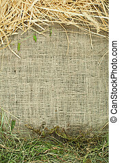 Straw and hay on burlap, copy space. Studio shot.