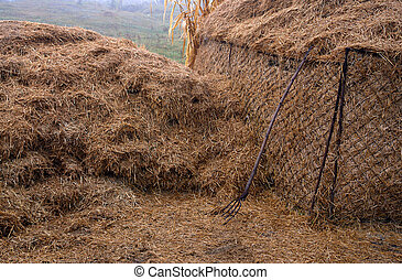 Straw bale and fork