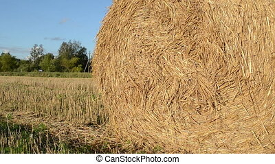 straw bale roll truck - closeup of straw bale in agriculture...
