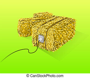 Handmade yellow straw bales on green background