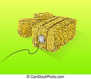 Straw Bales Illustration - Handmade yellow straw bales on...
