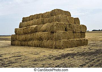 Straw bales pyramid