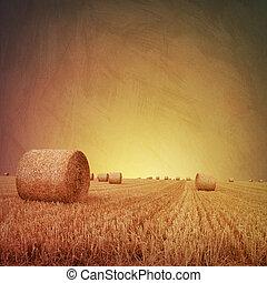 Straw Bales - An Artistic Vintage Photo Grunge Landscape...