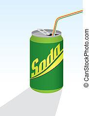 straw;, bevanda, verde, lattina