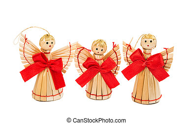 straw Christmas decorations on a white background