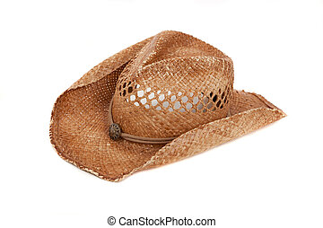 Straw cowboy hat on white