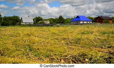 straw field in front of rural houses in Russia
