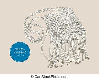 Straw Handbags boho style , sketch vector. - Handmade Tassel...