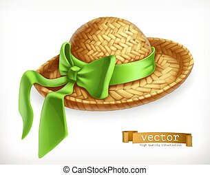 Straw hat, 3d vector icon