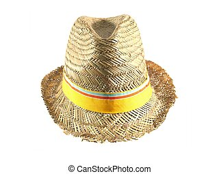 A straw hat isolated against a white background