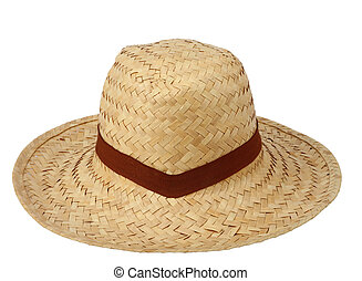 Straw hat against isolated, clipping path