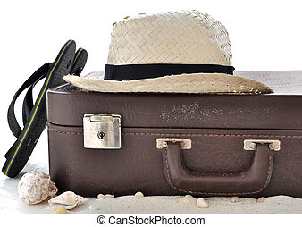 straw hat in a suitcase