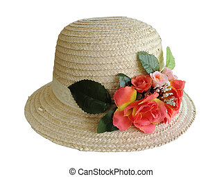 Straw hat isolated on white background with clipping path.