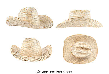 Straw hat isolated over white background, set of four...