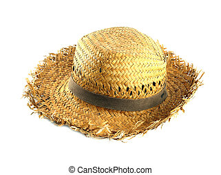 Straw hat on white background