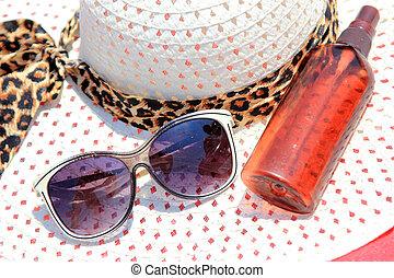 Straw Hat, Sun Glasses, Sun Block