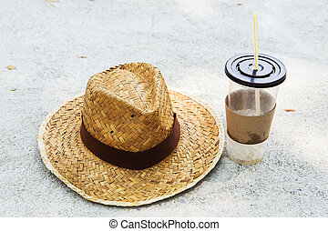 Straw Hat with Coffee