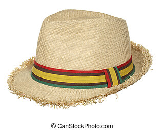 Straw hat with multi-colored ribbon isolated on white background.