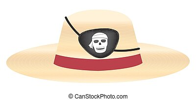 straw hat with pirate eye patch