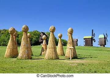 Straw Henge in field - Straw Henge in a spring field. Rural...