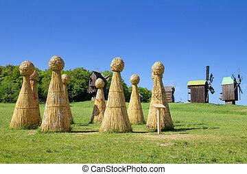 Straw Henge in field - Straw Henge in a spring field. Rural...