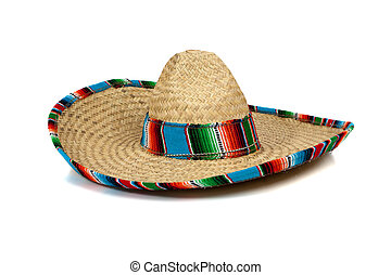 Straw Mexican Sombrero on white background - A colorful ...