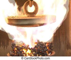straw pellets boiler - straw pellets burning in boiler....