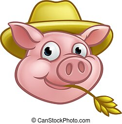Straw Pig Cartoon Character - A pig cartoon character with...