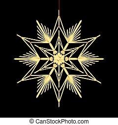 Straw Star Black Background