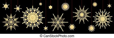 Straw Stars Different Old Fashioned Vintage Deco Black Background