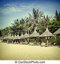 Straw sunshades and chaise longue on the tropical beach.