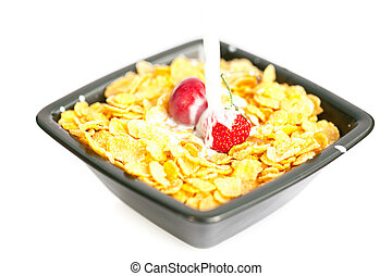 strawberries and cherries in the bowl of Cornflakes with milk isolated on white