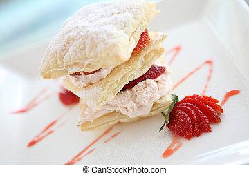 strawberries and custard millefeuille desert