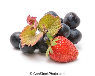 Strawberries and Grapes isolated on white background