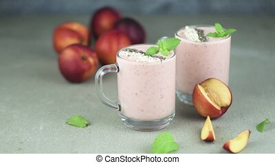 Fresh homemade smoothie - Strawberries and peaches smoothie...