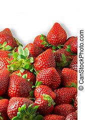 Strawberries background on white