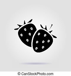 Strawberries black icon on a gray background with soft shadow