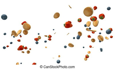 Strawberries, blueberries and pancakes flying in slow motion...