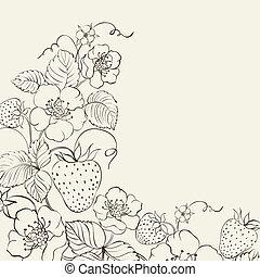 Strawberries brunch over sepia background. illustration.