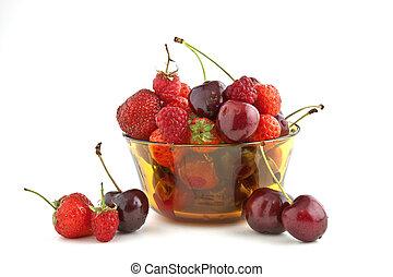 Strawberries, cherries and raspberries