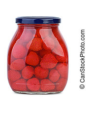 Strawberries conserved in the glass jar