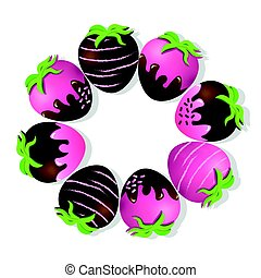 Strawberries delicious chocolate dipped top view Vector...
