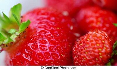 Strawberries - Fresh ripe perfect strawberry. Rack focus