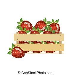 Strawberries. Fruit basket. Red berry vector illustration....