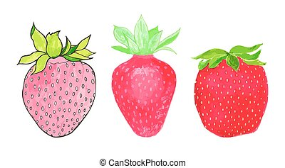 Strawberries. Hand-drawn berries. Real watercolor drawing. Vector illustration.